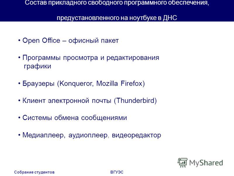 Собрание студентовВГУЭС Состав прикладного свободного программного обеспечения, предустановленного на ноутбуке в ДНС Open Office – офисный пакет Программы просмотра и редактирования графики Браузеры (Konqueror, Mozilla Firefox) Клиент электронной поч
