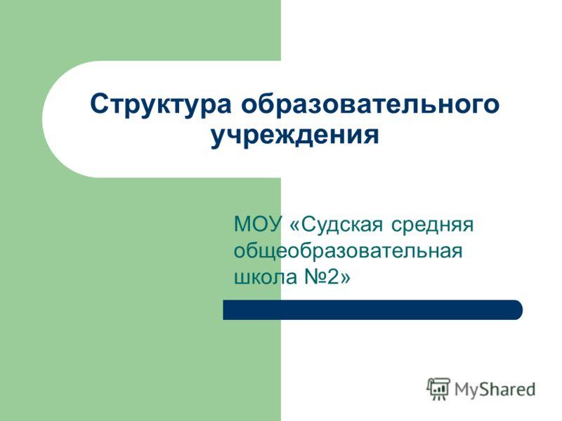 Структура образовательного учреждения МОУ «Судская средняя общеобразовательная школа 2»