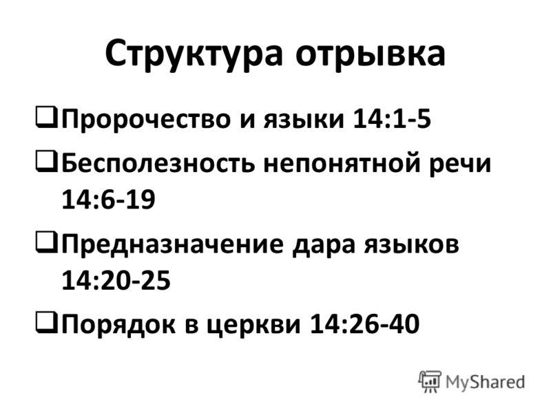 Структура отрывка Пророчество и языки 14:1-5 Бесполезность непонятной речи 14:6-19 Предназначение дара языков 14:20-25 Порядок в церкви 14:26-40