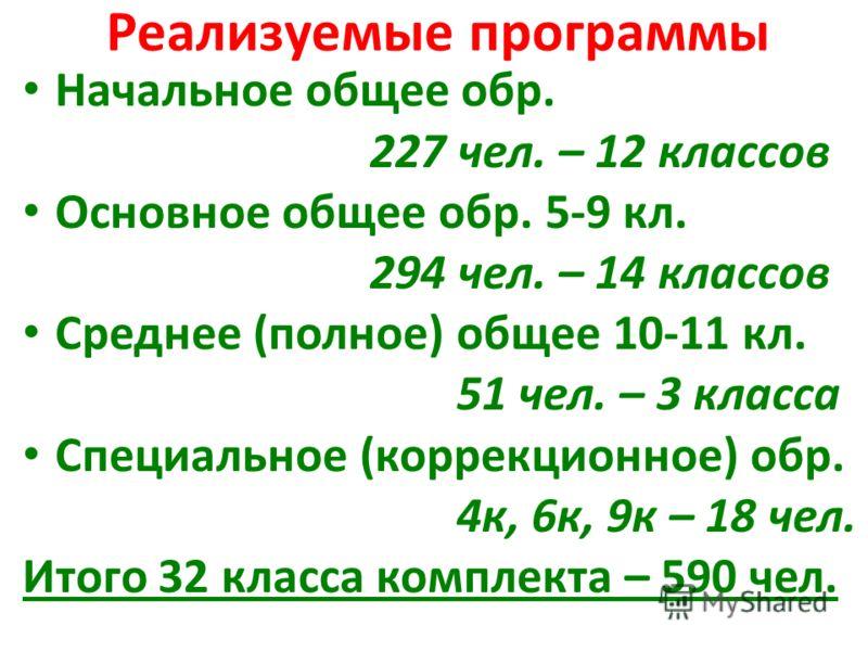 Реализуемые программы Начальное общее обр. 227 чел. – 12 классов Основное общее обр. 5-9 кл. 294 чел. – 14 классов Среднее (полное) общее 10-11 кл. 51 чел. – 3 класса Специальное (коррекционное) обр. 4к, 6к, 9к – 18 чел. Итого 32 класса комплекта – 5