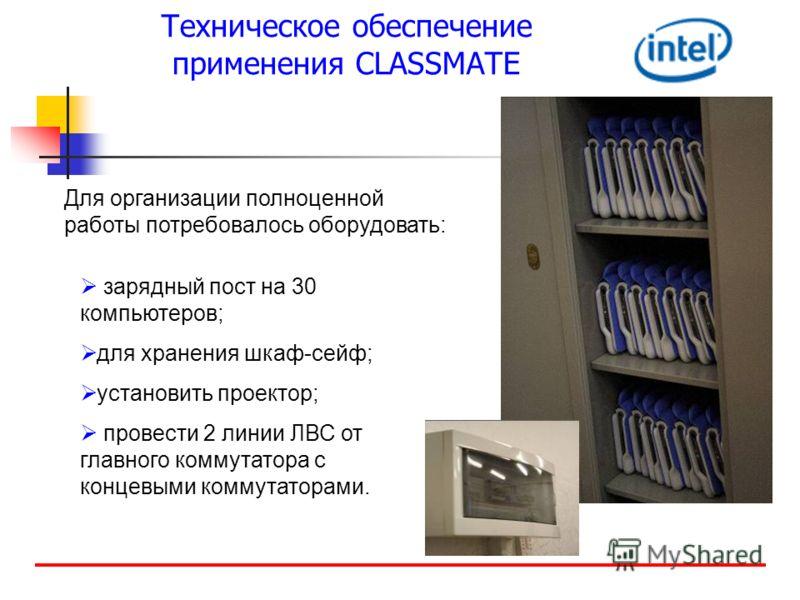 Техническое обеспечение применения CLASSMATE Для организации полноценной работы потребовалось оборудовать: зарядный пост на 30 компьютеров; для хранения шкаф-сейф; установить проектор; провести 2 линии ЛВС от главного коммутатора с концевыми коммутат