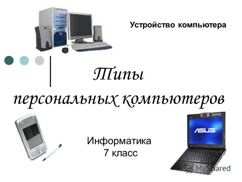 Типы персональных компьютеров Информатика 7 класс Устройство компьютера