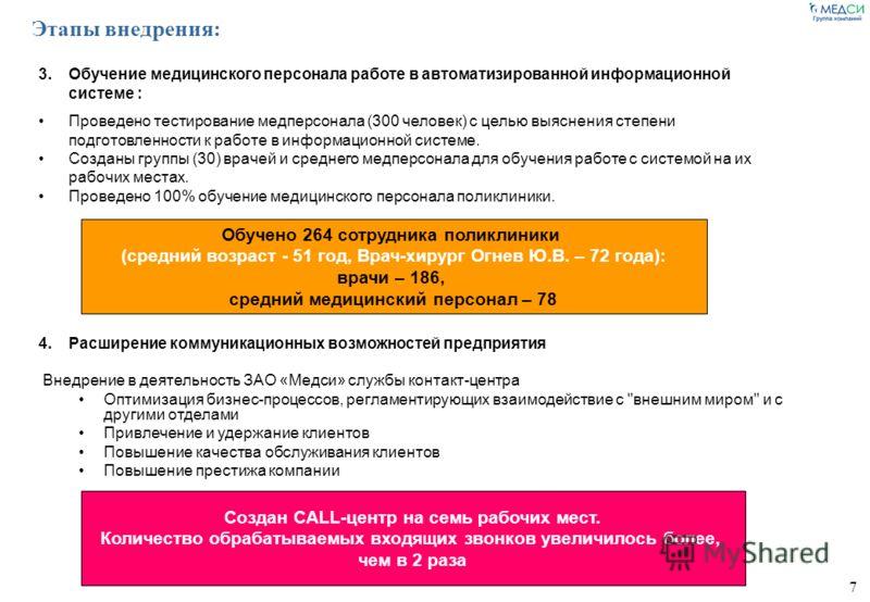 7 Этапы внедрения: 3.Обучение медицинского персонала работе в автоматизированной информационной системе : Проведено тестирование медперсонала (300 человек) с целью выяснения степени подготовленности к работе в информационной системе. Созданы группы (