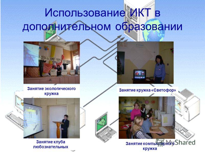 Использование ИКТ в дополнительном образовании Занятие экологического кружка Занятие кружка «Светофор» Занятие клуба любознательных Занятие компьютерного кружка