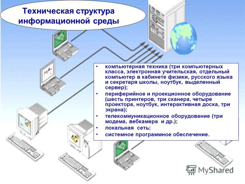 компьютерная техника (три компьютерных класса, электронная учительская, отдельный компьютер в кабинете физики, русского языка и секретаря школы, ноутбук, выделенный сервер); периферийное и проекционное оборудование (шесть принтеров, три сканера, четы