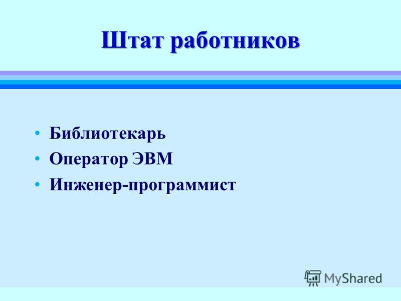 Штат работников Библиотекарь Оператор ЭВМ Инженер-программист