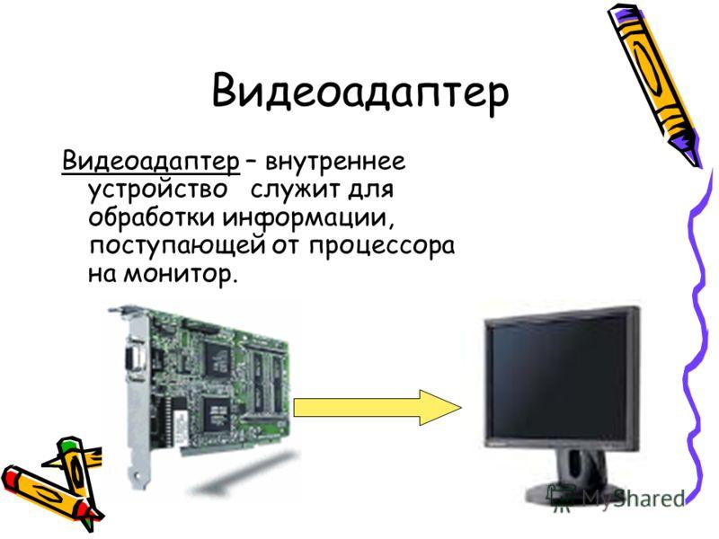Видеоадаптер Видеоадаптер – внутреннее устройство служит для обработки информации, поступающей от процессора на монитор.