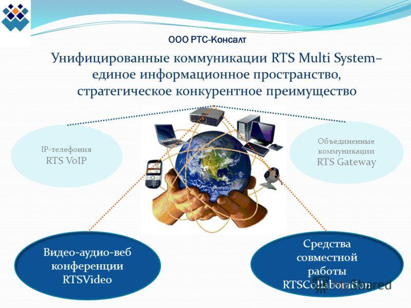 ООО РТС-Консалт Унифицированные коммуникации RTS Multi System– единое информационное пространство, стратегическое конкурентное преимущество IP-телефония RTS VoIP Видео-аудио-веб конференции RTSVideo Средства совместной работы RTSCollaboration Объедин