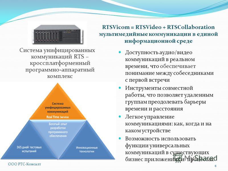 RTSVicom = RTSVideo + RTSCollaboration мультимедийные коммуникации в единой информационной среде Система унифицированных коммуникаций RTS – кроссплатформенный программно-аппаратный комплекс Доступность аудио/видео коммуникаций в реальном времени, что