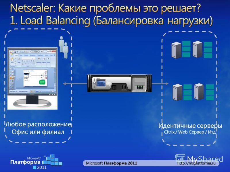 Идентичные серверы Citrix / Web Сервер / Итд. Любое расположение Офис или филиал