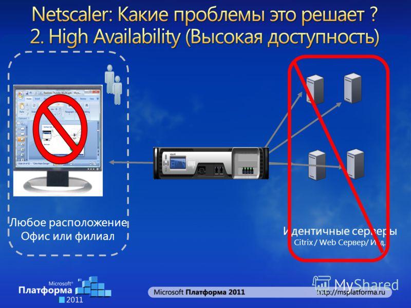 Идентичные серверы Citrix / Web Сервер/ Итд. Любое расположение Офис или филиал