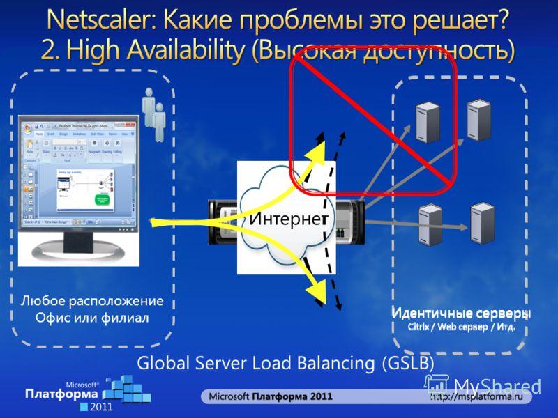 Любое расположение Офис или филиал Идентичные серверы Citrix / Web сервер / Итд. Идентичные серверы Citrix / Web сервер / Итд. Интернет Global Server Load Balancing (GSLB)