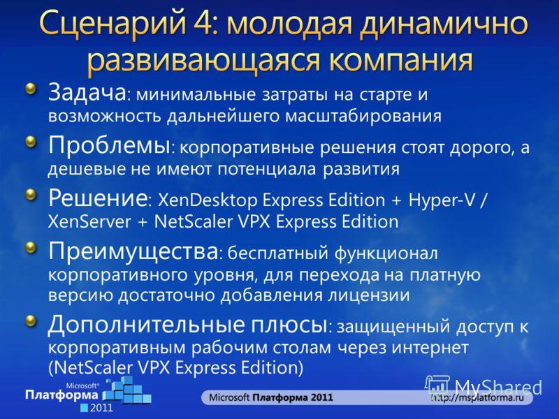Задача : минимальные затраты на старте и возможность дальнейшего масштабирования Проблемы : корпоративные решения стоят дорого, а дешевые не имеют потенциала развития Решение : XenDesktop Express Edition + Hyper-V / XenServer + NetScaler VPX Express