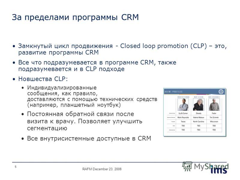 5 За пределами программы CRM Замкнутый цикл продвижения - Closed loop promotion (CLP) – это, развитие программы CRM Все что подразумевается в программе CRM, также подразумевается и в CLP подходе Новшества CLP: Индивидуализированные сообщения, как пра