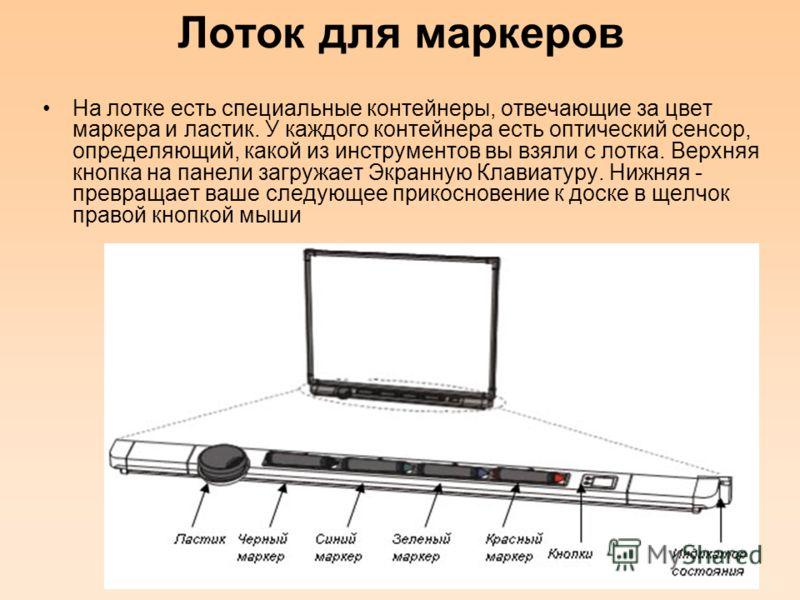 Лоток для маркеров На лотке есть специальные контейнеры, отвечающие за цвет маркера и ластик. У каждого контейнера есть оптический сенсор, определяющий, какой из инструментов вы взяли с лотка. Верхняя кнопка на панели загружает Экранную Клавиатуру. Н