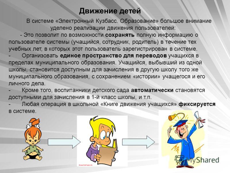 Движение детей В системе «Электронный Кузбасс. Образование» большое внимание уделено реализации движения пользователей: - Это позволит по возможности сохранять полную информацию о пользователе системы (учащийся, сотрудник, родитель) в течение тех уче
