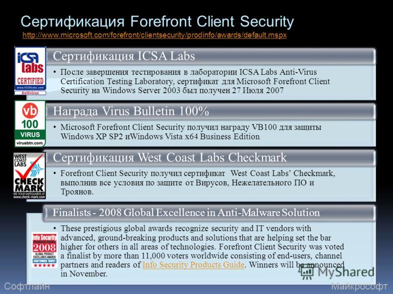 Сертификация Forefront Client Security http://www.microsoft.com/forefront/clientsecurity/prodinfo/awards/default.mspxhttp://www.microsoft.com/forefront/clientsecurity/prodinfo/awards/default.mspx После завершения тестирования в лаборатории ICSA Labs