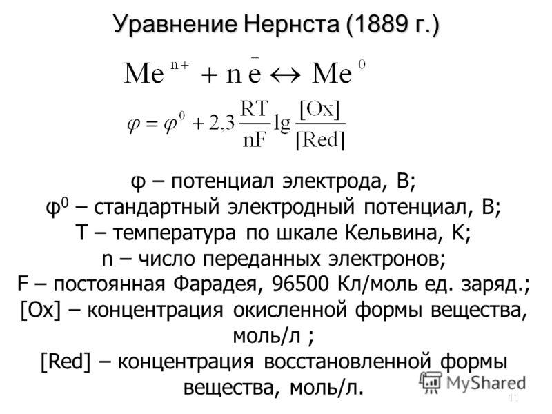11 Уравнение Нернста (1889 г.) φ – потенциал электрода, В; φ 0 – стандартный электродный потенциал, В; Т – температура по шкале Кельвина, K; n – число переданных электронов; F – постоянная Фарадея, 96500 Кл/моль ед. заряд.; [Ox] – концентрация окисле