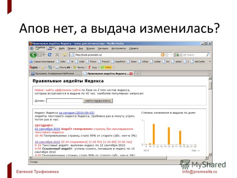 Евгений Трофименкоinfo@promosite.ru Апов нет, а выдача изменилась?