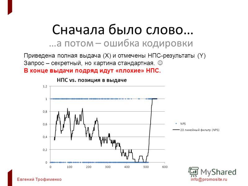 Евгений Трофименкоinfo@promosite.ru Сначала было слово… …а потом – ошибка кодировки Приведена полная выдача (X) и отмечены НПС-результаты (Y) Запрос – секретный, но картина стандартная. В конце выдачи подряд идут «плохие» НПС.