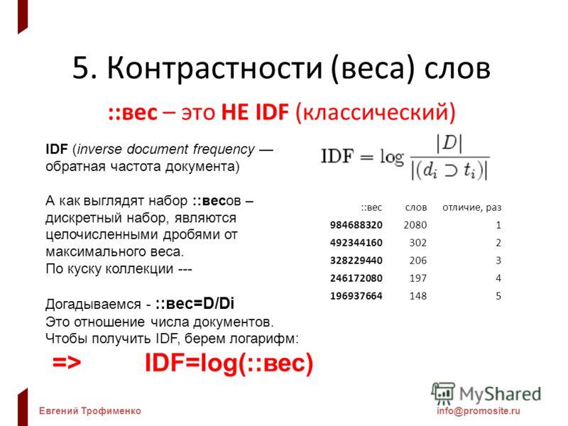Евгений Трофименкоinfo@promosite.ru 5. Контрастности (веса) слов ::вес – это НЕ IDF (классический) IDF (inverse document frequency обратная частота документа) А как выглядят набор ::весов – дискретный набор, являются целочисленными дробями от максима