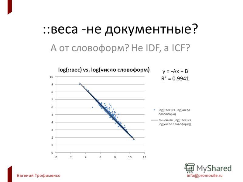 Евгений Трофименкоinfo@promosite.ru ::веса -не документные? А от словоформ? Не IDF, а ICF?