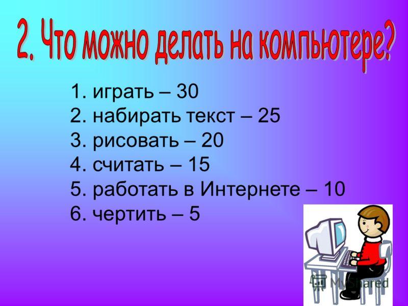 1. играть – 30 2. набирать текст – 25 3. рисовать – 20 4. считать – 15 5. работать в Интернете – 10 6. чертить – 5