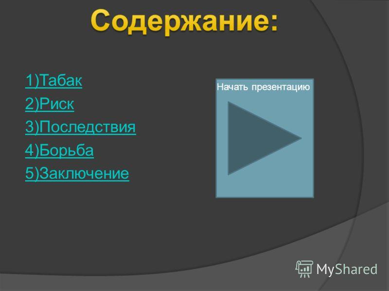 1)Табак 2)Риск 3)Последствия 4)Борьба 5)Заключение Начать презентацию