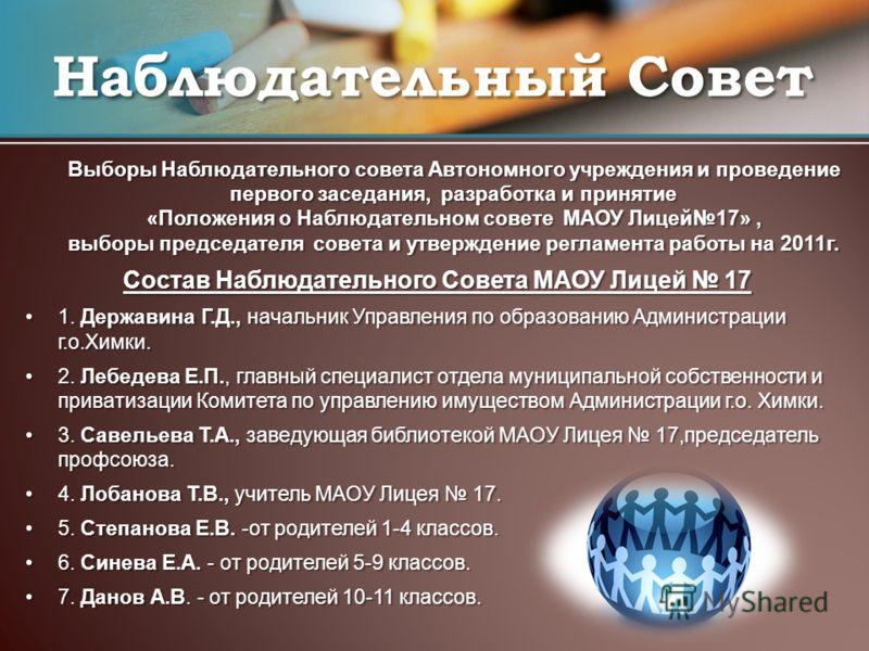 Выборы Наблюдательного совета Автономного учреждения и проведение первого заседания, разработка и принятие «Положения о Наблюдательном совете МАОУ Лицей17», выборы председателя совета и утверждение регламента работы на 2011г. Выборы Наблюдательного с