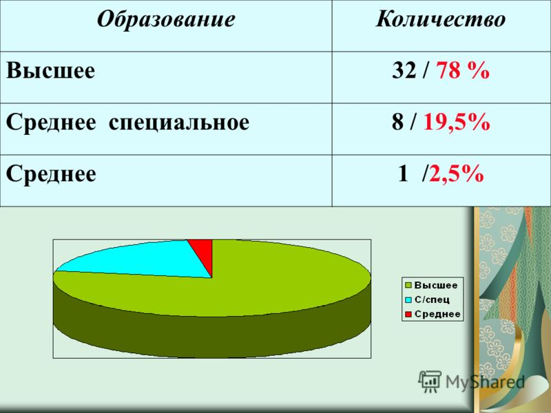 ОбразованиеКоличество Высшее32 / 78 % Среднее специальное8 / 19,5% Среднее1 /2,5%