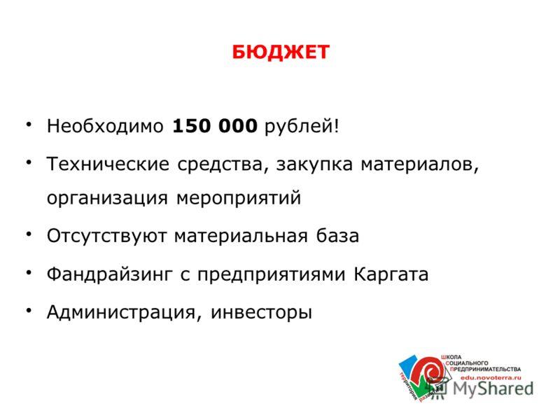 БЮДЖЕТ Необходимо 150 000 рублей! Технические средства, закупка материалов, организация мероприятий Отсутствуют материальная база Фандрайзинг с предприятиями Каргата Администрация, инвесторы