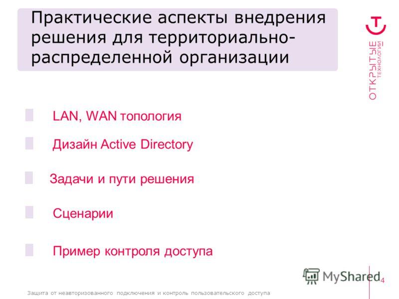 4 Защита от неавторизованного подключения и контроль пользовательского доступа Практические аспекты внедрения решения для территориально- распределенной организации LAN, WAN топология Задачи и пути решения Дизайн Active Directory Пример контроля дост