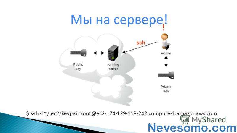 Мы на сервере! $ ssh -i ~/.ec2/keypair root@ec2-174-129-118-242.compute-1.amazonaws.com