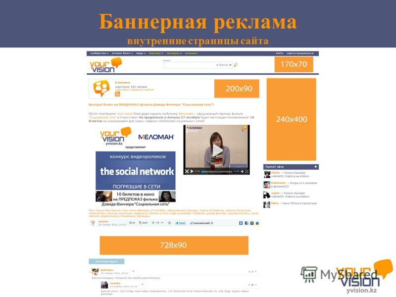Баннерная реклама внутренние страницы сайта