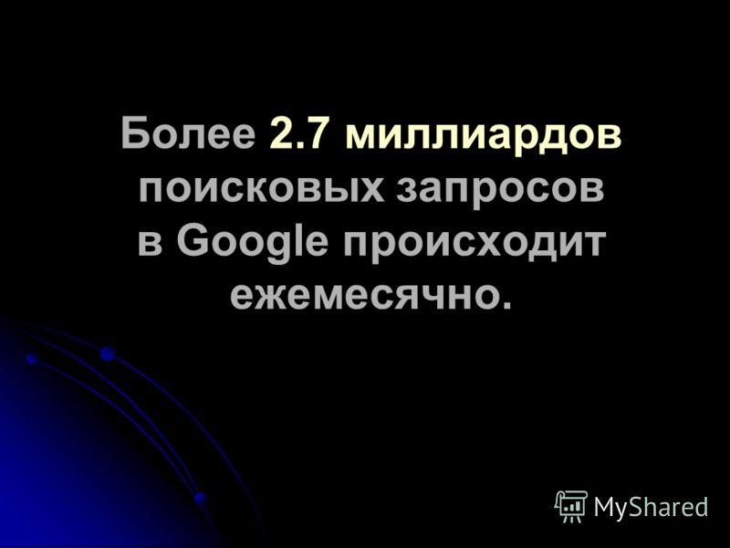 Более 2.7 миллиардов поисковых запросов в Google происходит ежемесячно.