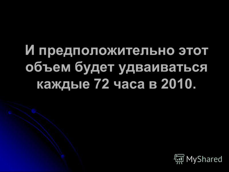 И предположительно этот объем будет удваиваться каждые 72 часа в 2010.