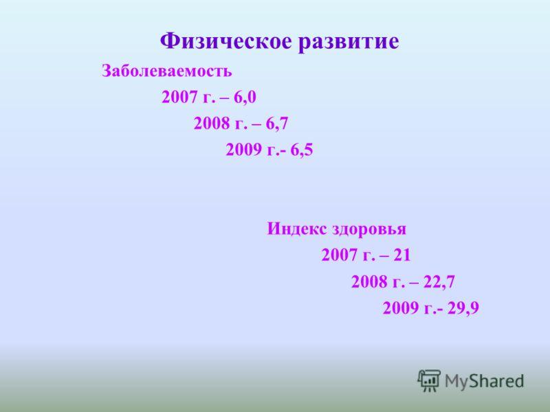 Физическое развитие Заболеваемость 2007 г. – 6,0 2008 г. – 6,7 2009 г.- 6,5 Индекс здоровья 2007 г. – 21 2008 г. – 22,7 2009 г.- 29,9