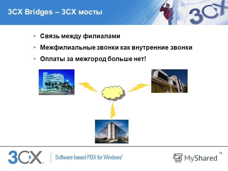15 Copyright © 2005 ACNielsen a VNU company 3CX Bridges – 3CX мосты Связь между филиалами Межфилиальные звонки как внутренние звонки Оплаты за межгород больше нет!
