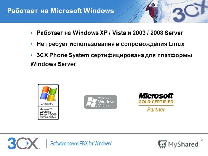 3 Copyright © 2005 ACNielsen a VNU company Работает на Microsoft Windows Работает на Windows XP / Vista и 2003 / 2008 Server Не требует использования и сопровождения Linux 3CX Phone System сертифицирована для платформы Windows Server