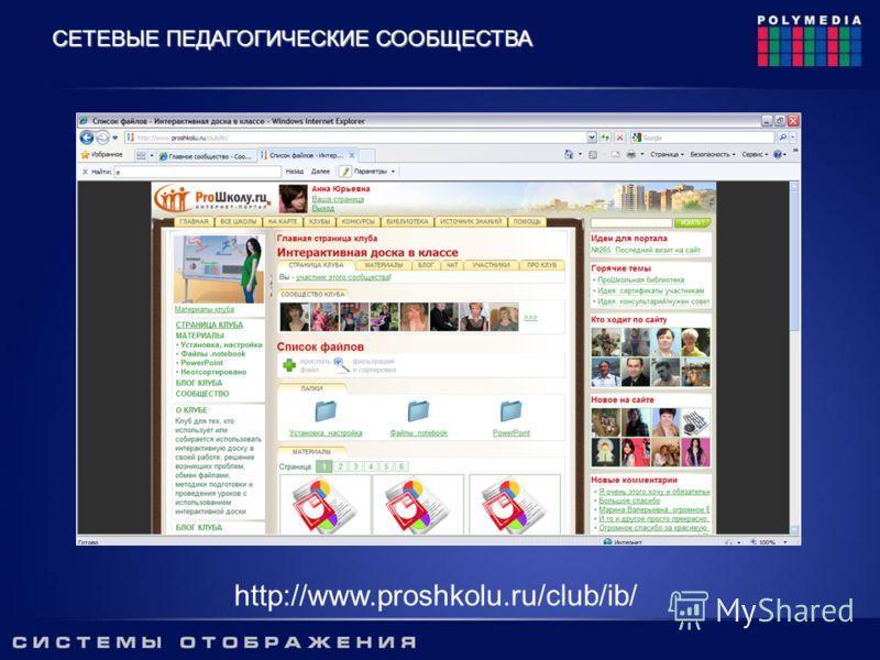 http://www.proshkolu.ru/club/ib/ СЕТЕВЫЕ ПЕДАГОГИЧЕСКИЕ СООБЩЕСТВА