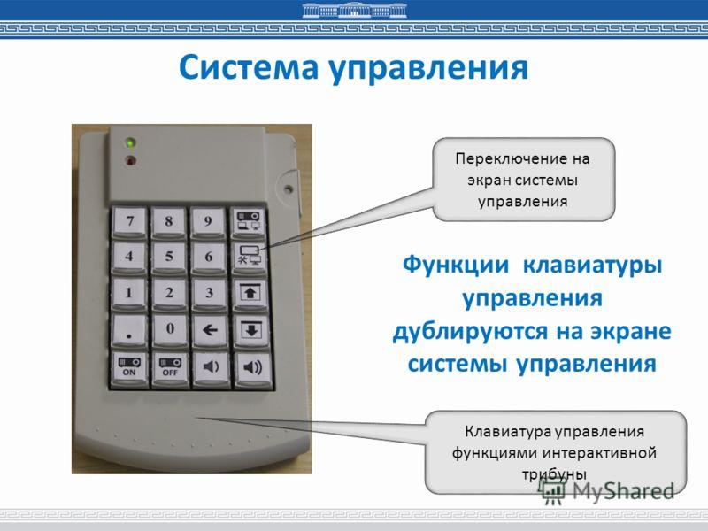 Система управления Переключение на экран системы управления Функции клавиатуры управления дублируются на экране системы управления Клавиатура управления функциями интерактивной трибуны
