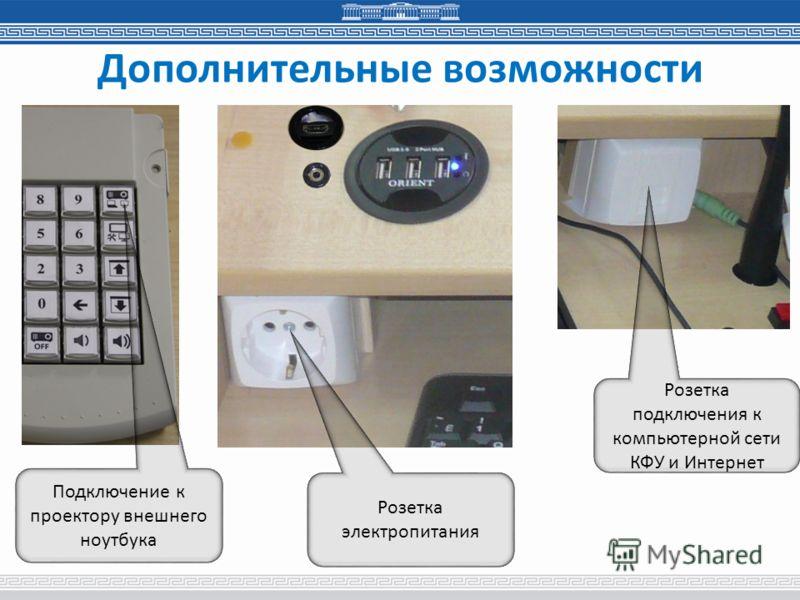 Дополнительные возможности Розетка электропитания Розетка подключения к компьютерной сети КФУ и Интернет Подключение к проектору внешнего ноутбука