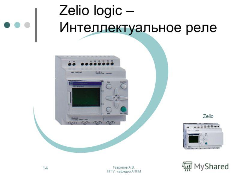 Гаврилов А.В. НГТУ, кафедра АППМ 14 Zelio Zelio logic – Интеллектуальное реле