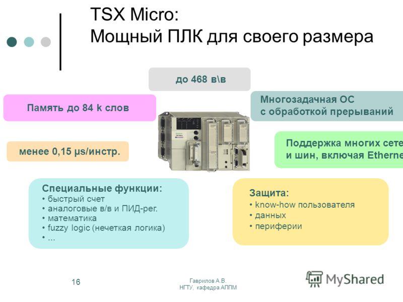 Гаврилов А.В. НГТУ, кафедра АППМ 16 TSX Micro: Мощный ПЛК для своего размера до 468 в\в Память до 84 k слов менее 0,15 µs/инстр. Специальные функции: быстрый счет аналоговые в/в и ПИД-рег. математика fuzzy logic (нечеткая логика)... Поддержка многих