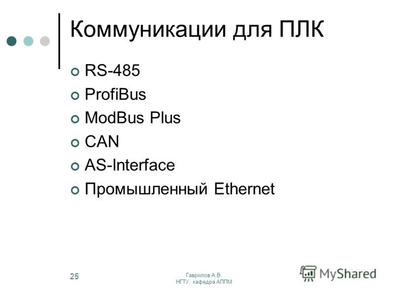Гаврилов А.В. НГТУ, кафедра АППМ 25 Коммуникации для ПЛК RS-485 ProfiBus ModBus Plus CAN AS-Interface Промышленный Ethernet