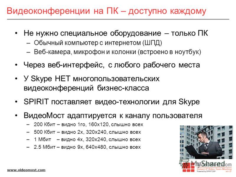 www.videomost.com Видеоконференции на ПК – доступно каждому Не нужно специальное оборудование – только ПК –Обычный компьютер с интернетом (ШПД) –Веб-камера, микрофон и колонки (встроено в ноутбук) Через веб-интерфейс, c любого рабочего места У Skype
