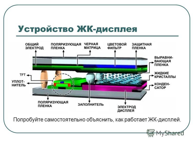 Устройство ЖК-дисплея Попробуйте самостоятельно объяснить, как работает ЖК-дисплей.