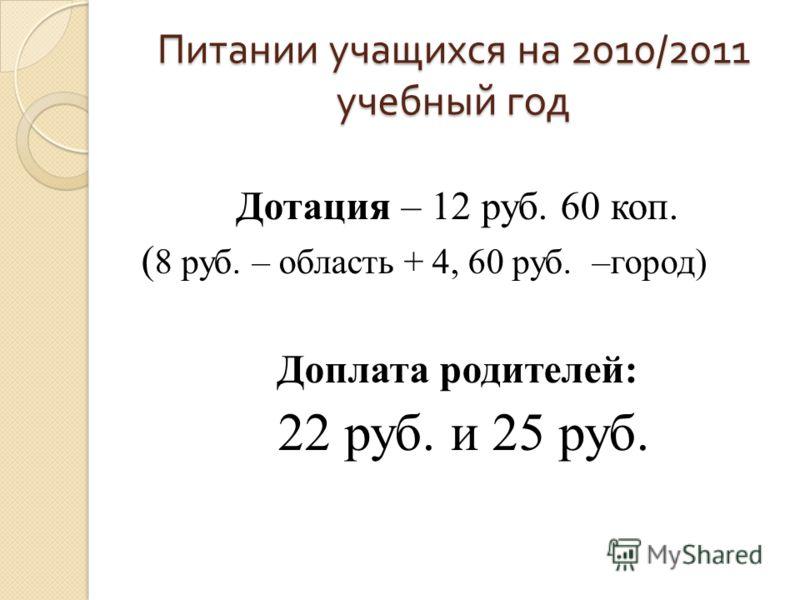 Питании учащихся на 2010/2011 учебный год Дотация – 12 руб. 60 коп. ( 8 руб. – область + 4, 60 руб. –город) Доплата родителей: 22 руб. и 25 руб.