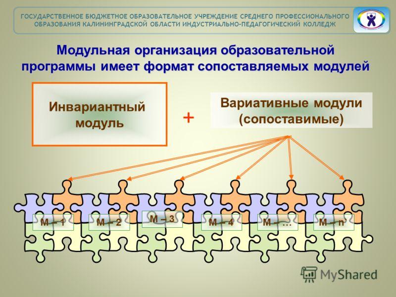 Модульная организация образовательной программы имеет формат сопоставляемых модулей Инвариантный модуль Вариативные модули (сопоставимые) + М – 1М – 2 М – 3 М – 4М – …М – n` ГОСУДАРСТВЕННОЕ БЮДЖЕТНОЕ ОБРАЗОВАТЕЛЬНОЕ УЧРЕЖДЕНИЕ СРЕДНЕГО ПРОФЕССИОНАЛЬН