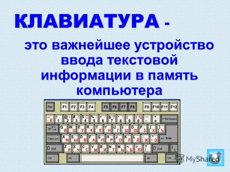 КЛАВИАТУРА - это важнейшее устройство ввода текстовой информации в память компьютера